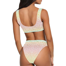 Animal Print Pastel Rainbow Crop Top and High Waist Bikini Set