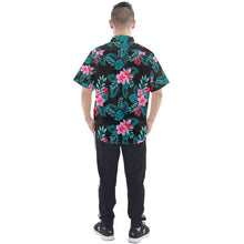 Men's Black Floral and Leaf Print Hawaiian Shirt