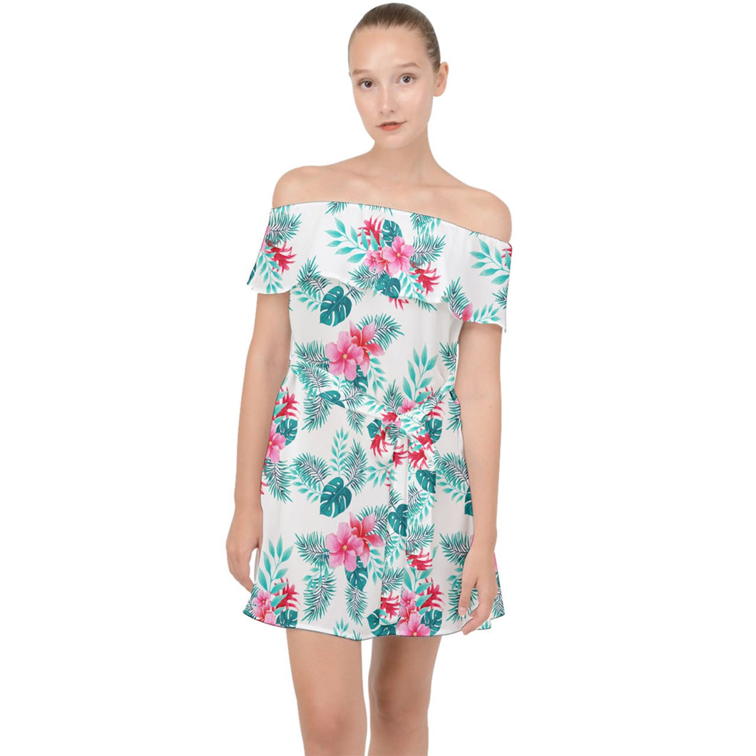 Off Shoulder White Floral Hawaiian Print Chiffon Dress