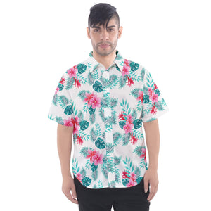 Men's White Floral and Leaf Print Hawaiian Shirt