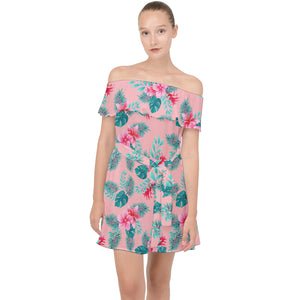Off Shoulder Pink Floral Hawaiian Print Chiffon Dress