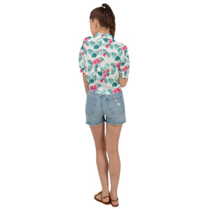 White Cropped Tie Front Floral Hawaiian Shirt