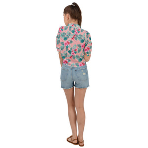 Pink Cropped Tie Front Floral Hawaiian Shirt