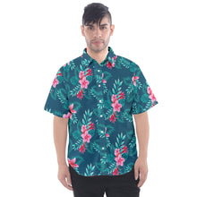 Men's Blue Floral and Leaf Print Hawaiian Shirt