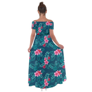 Off Shoulder Blue Floral Hawaiian Print Maxi Dress