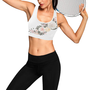 Rosé All Day White Floral Sports Bra