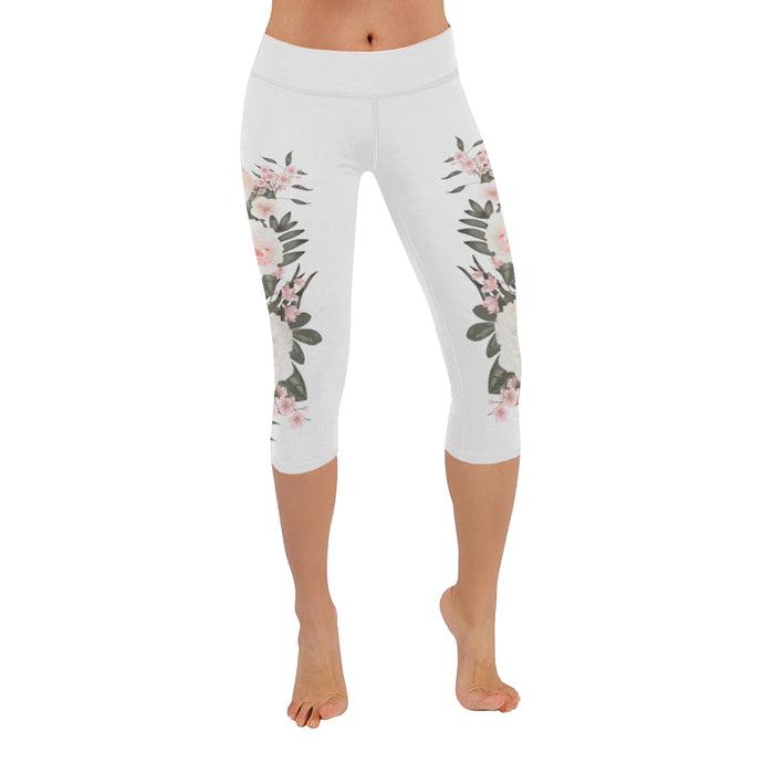 Rosé All Day White Floral Low Rise Capri Legging