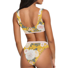 Suns & Roses Sporty Crop Top & High Waist Yellow Floral Bikini Bottom Set