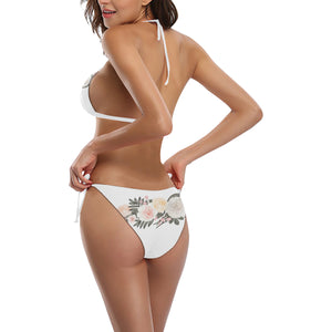 La Vie En Rose White Floral String Bikini Set