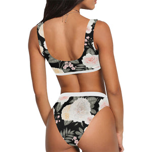Rosé All Night Crop Top and High Waist Black Floral Bikini Set