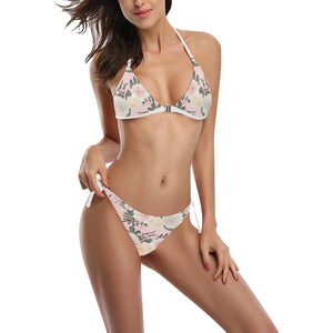 Rosé All Day Floral Front Buckle Pink Halter String Bikini Set