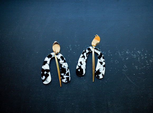 Dalmatian drop earrings