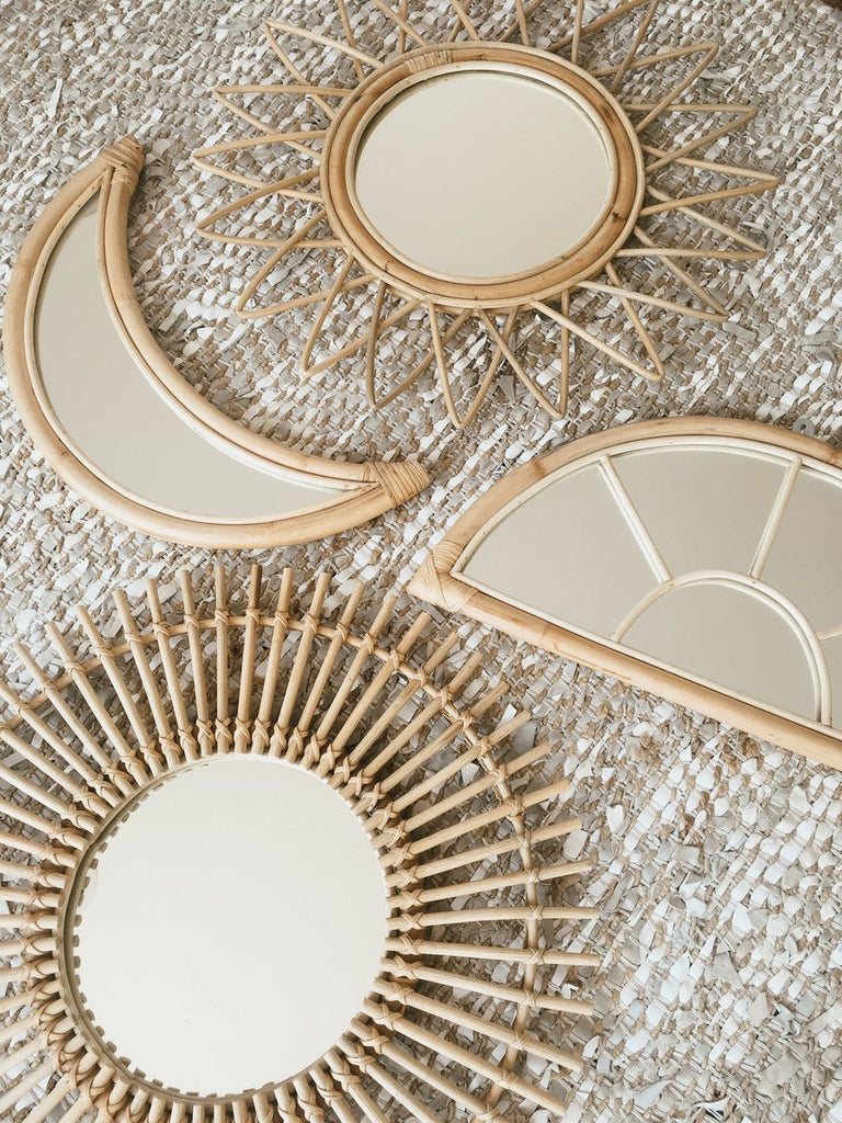 Rattan Moon Mirror - Wonder and Luck