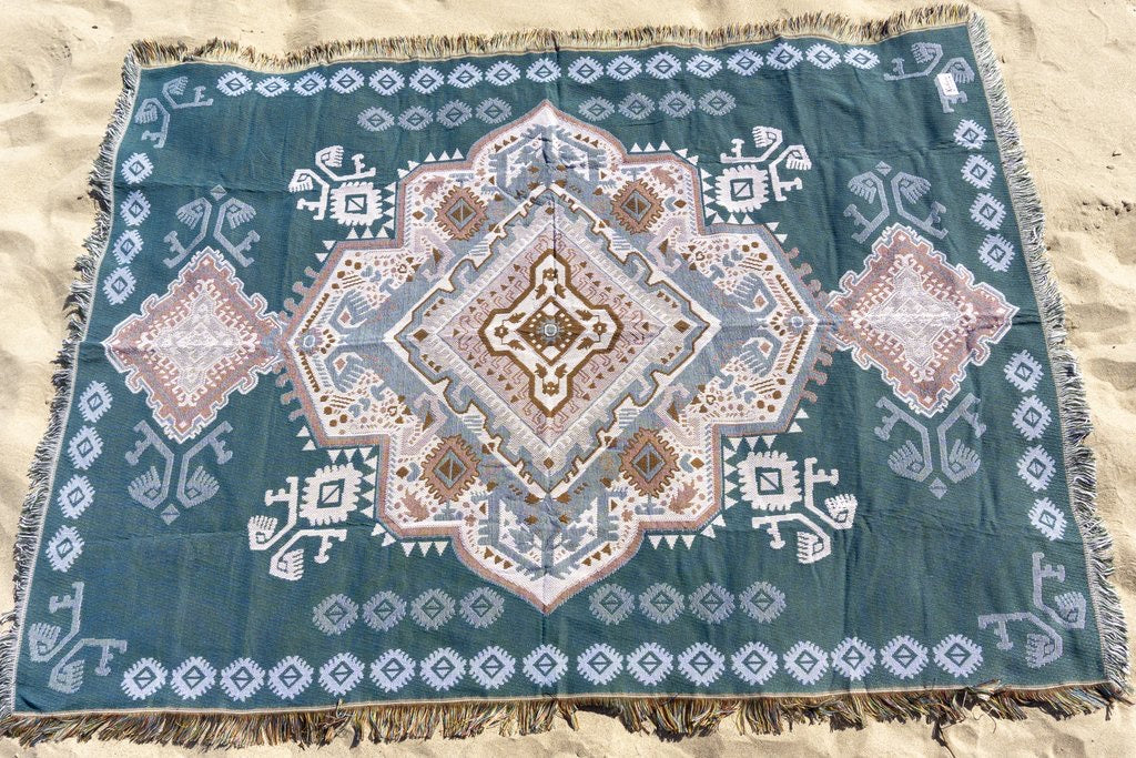 The Zahara Rug - Turquoise - Wonder and Luck