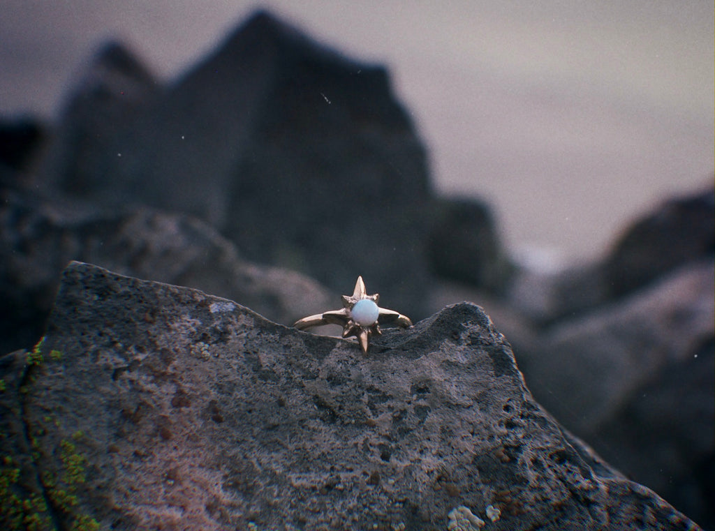 Iron Oxide Solitude Collection Polaris Star Ring set with Lab Grown Opal on a rocky terrain