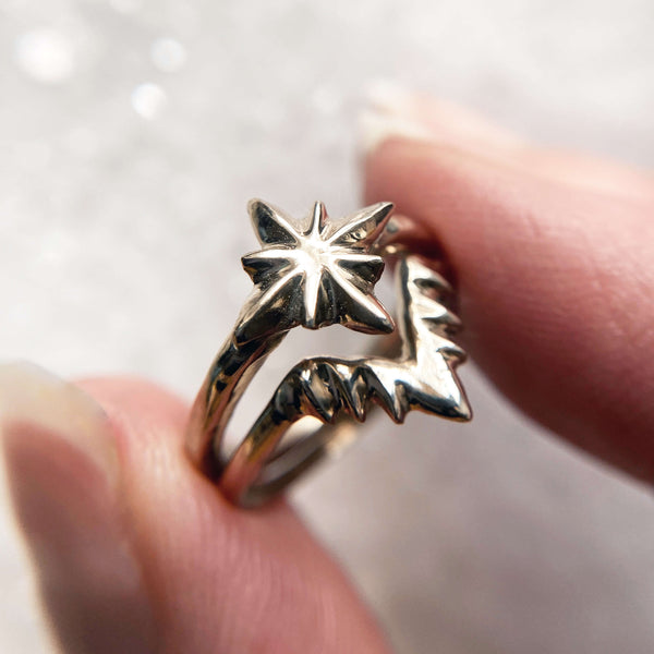 Celestial nesting star stacking ring set by Iron Oxide