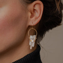 Load image into Gallery viewer, Crystal Crescent Earrings with Brass and Opal