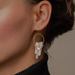 Crystal Crescent Earrings with Brass and Opal