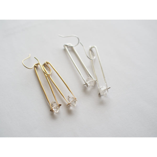 Herkimer Drop Earrings - Brass or Silver