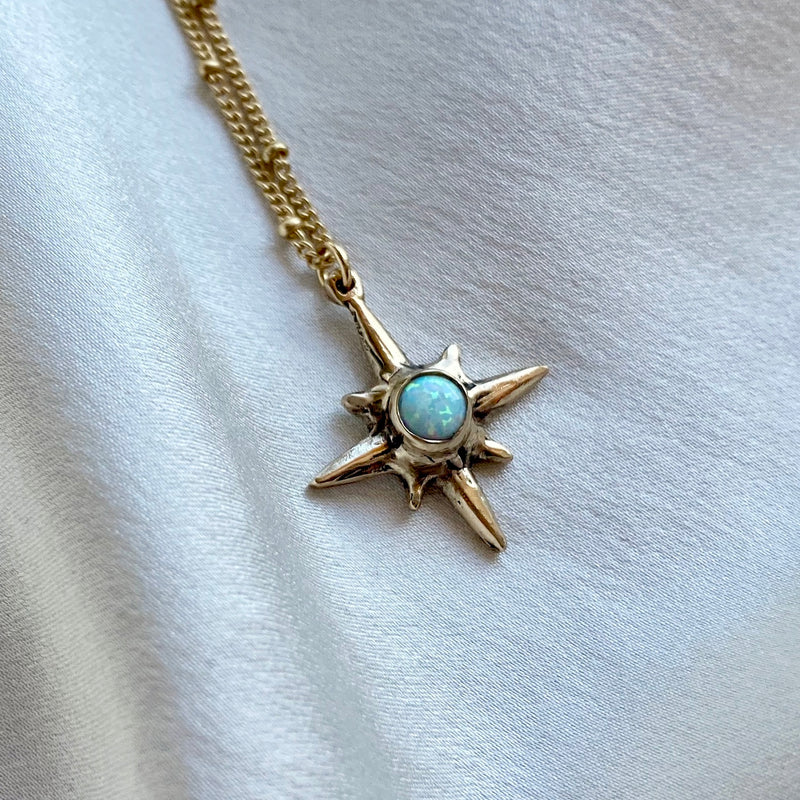 Shiny gold Iron Oxide North Star Polaris Necklace set with Moonstone