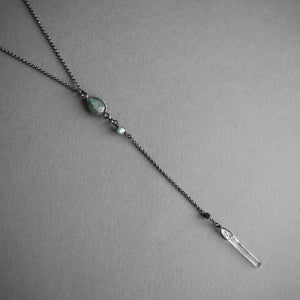 Labradorite Lariat Necklace, Jewelry, Iron Oxide - Altar PDX