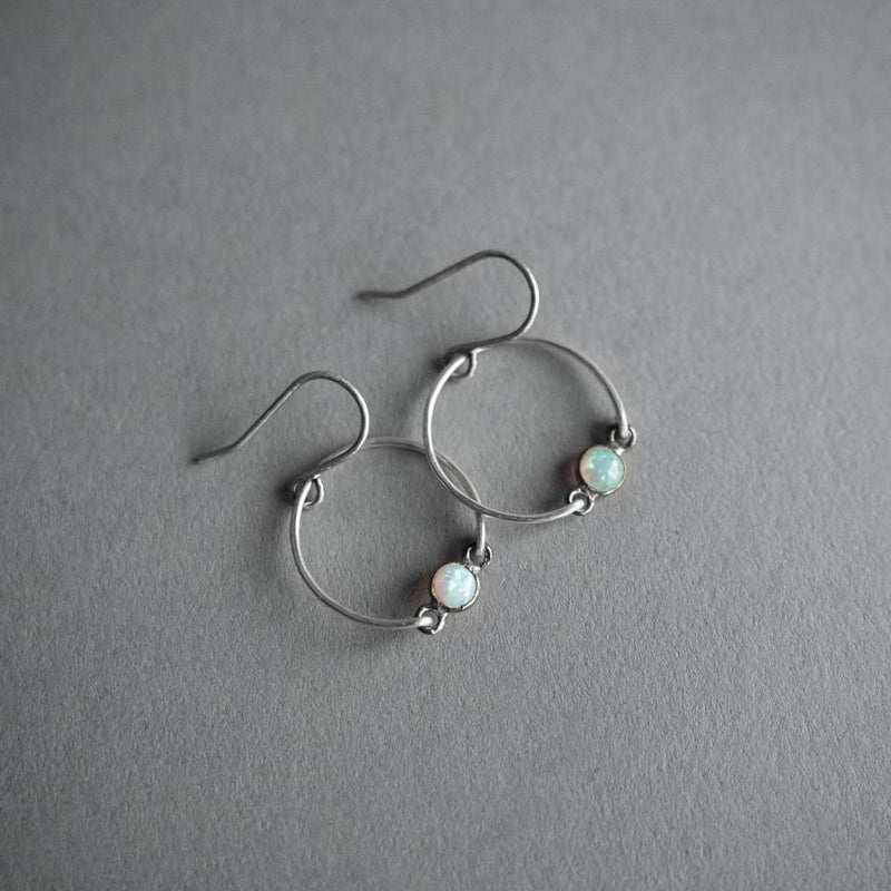 Silver and Opal Circle Earrings