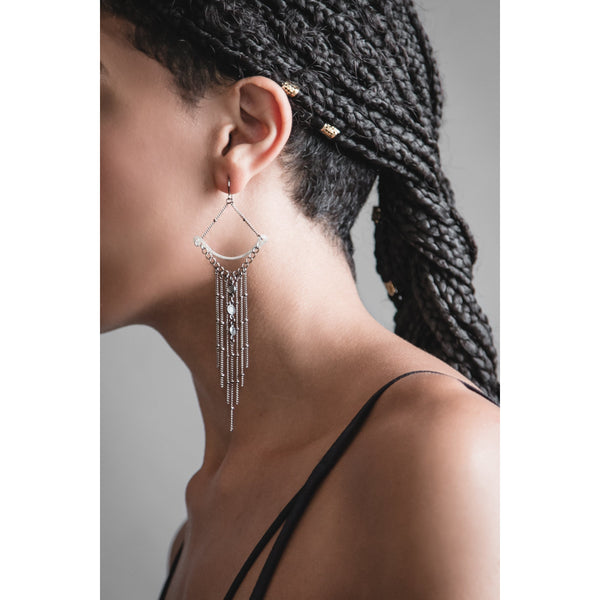 Iron Oxide Labradorite Crescent Fringe Earrings on a model with box braids