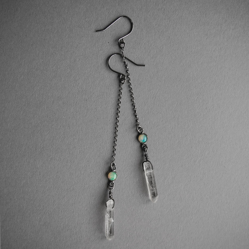 Mini Opal and Crystal Drop Earrings, Jewelry, Iron Oxide - Altar PDX