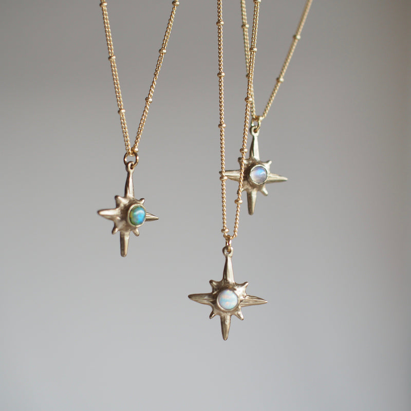 Hanging Shiny Gold Iron Oxide North Star Polaris Necklaces