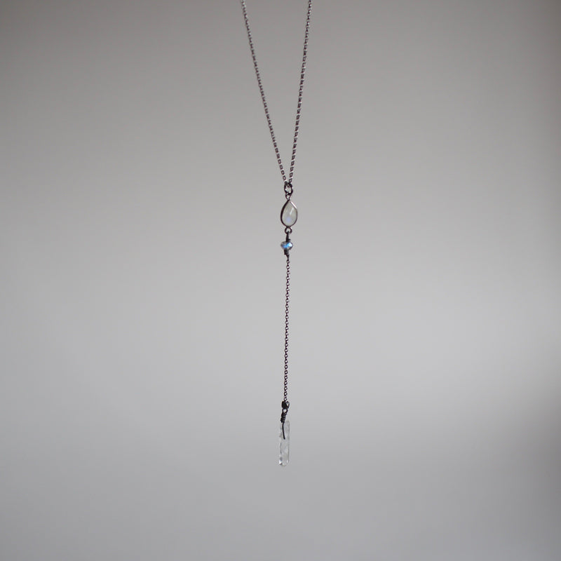 Moonstone Lariat Necklace