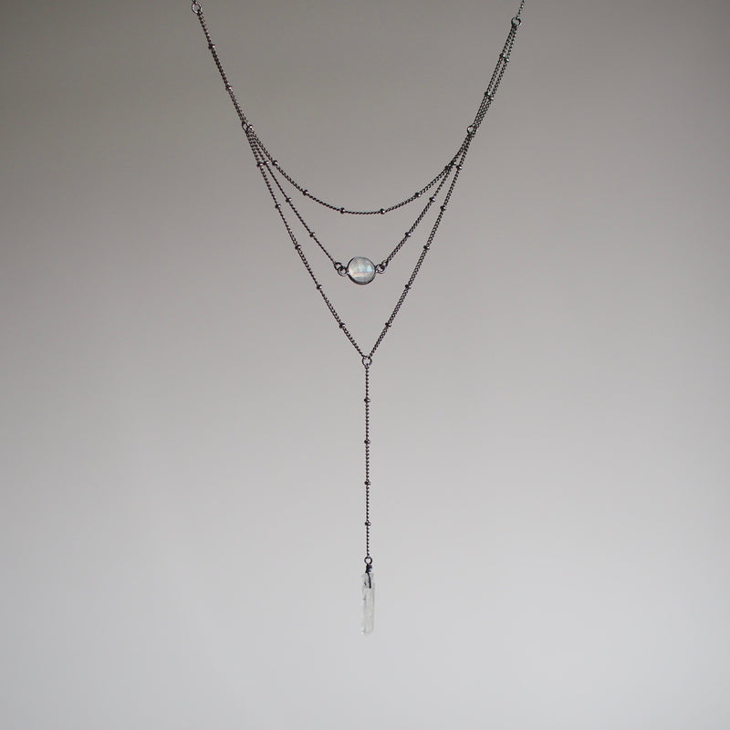 Layered Moonstone Lariat Necklace