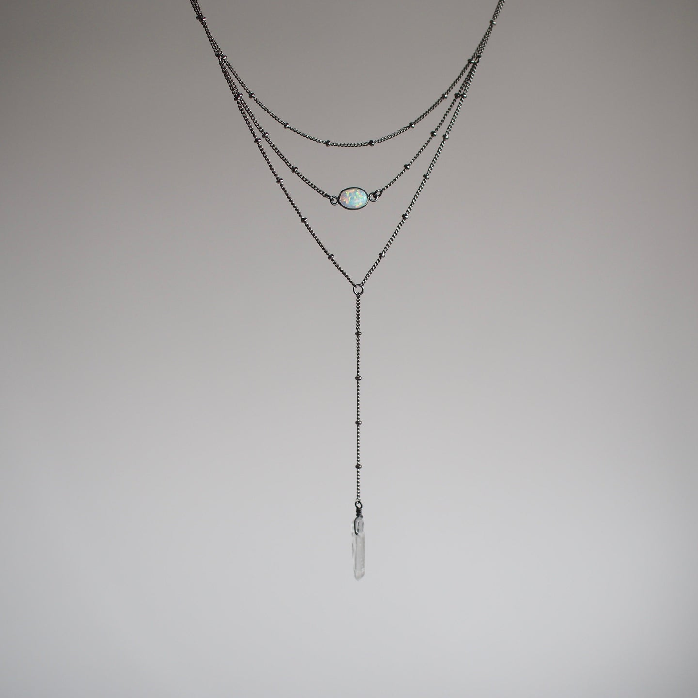 Layered Opal Lariat Necklace