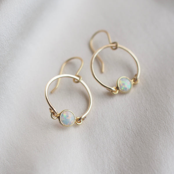 Gold Flashy Opal Circle Earrings