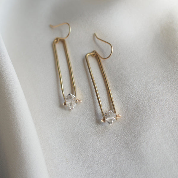 Dainty Herkimer Drop Earrings - Brass or Silver