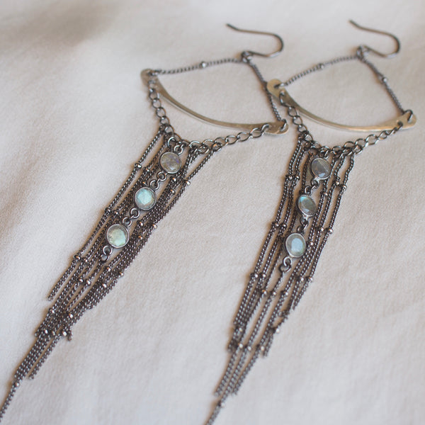 Labradorite Crescent Fringe Earrings
