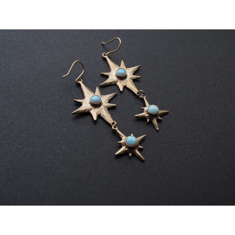 Iron Oxide Celestial Polaris Earrings set with lab grown blue opal