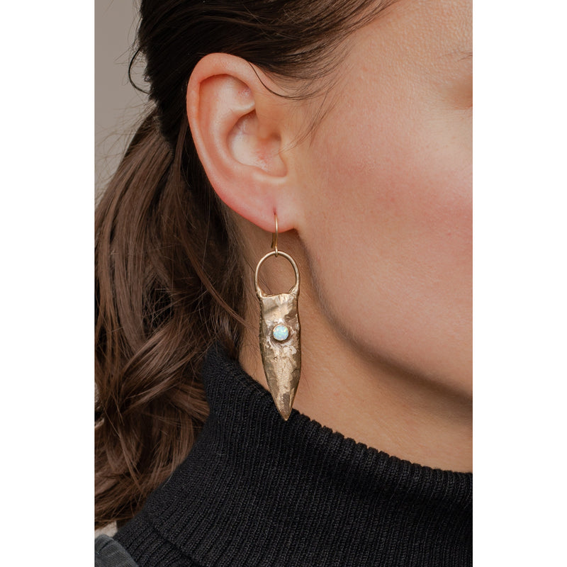 Brass Shield Earrings
