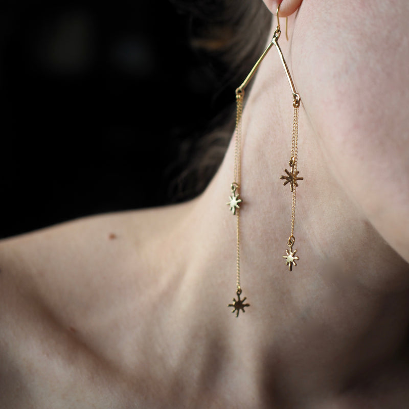 Sparkle star earrings handmade by Iron Oxide Designs