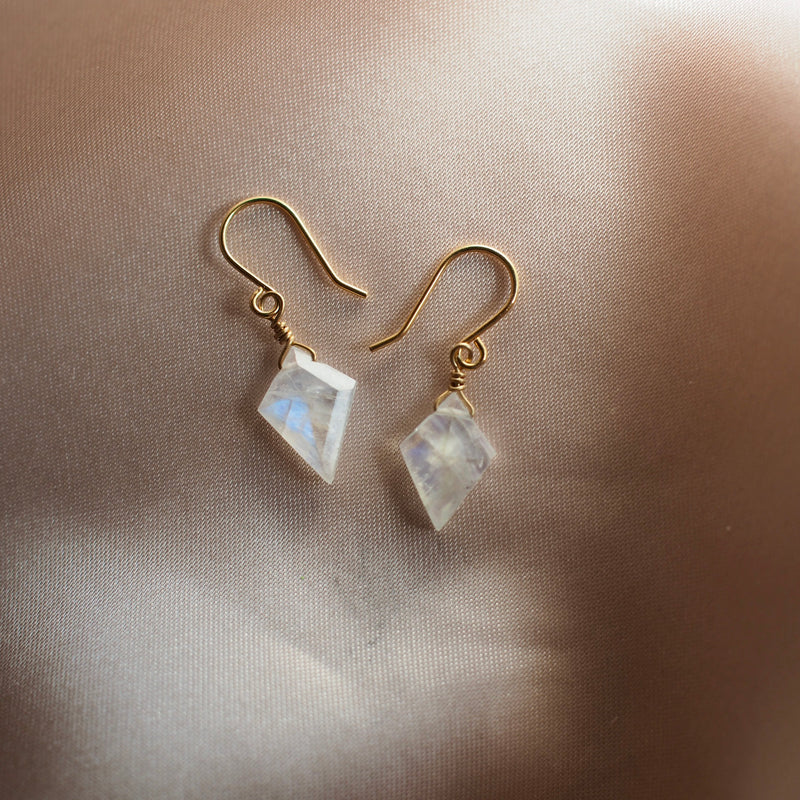 Faceted flashy moonstone classic, diamond shaped earring by Iron Oxide Designs