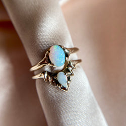 Sustainable Wedding and Engagement stacking ring set featuring ethically sourced opals by Iron Oxide Designs