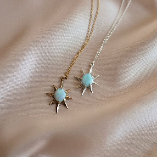 Supernova large star necklaces set with lab grown opals in sterling silver or gold tone bronze