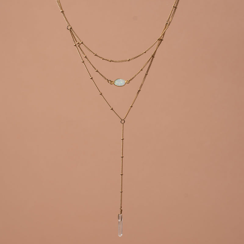 Gold Layered Opal Lariat Necklace