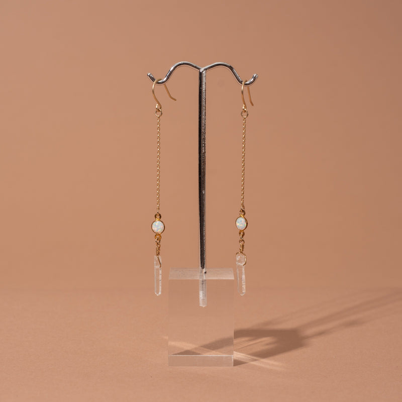 Mini Opal and Crystal Drop Earrings