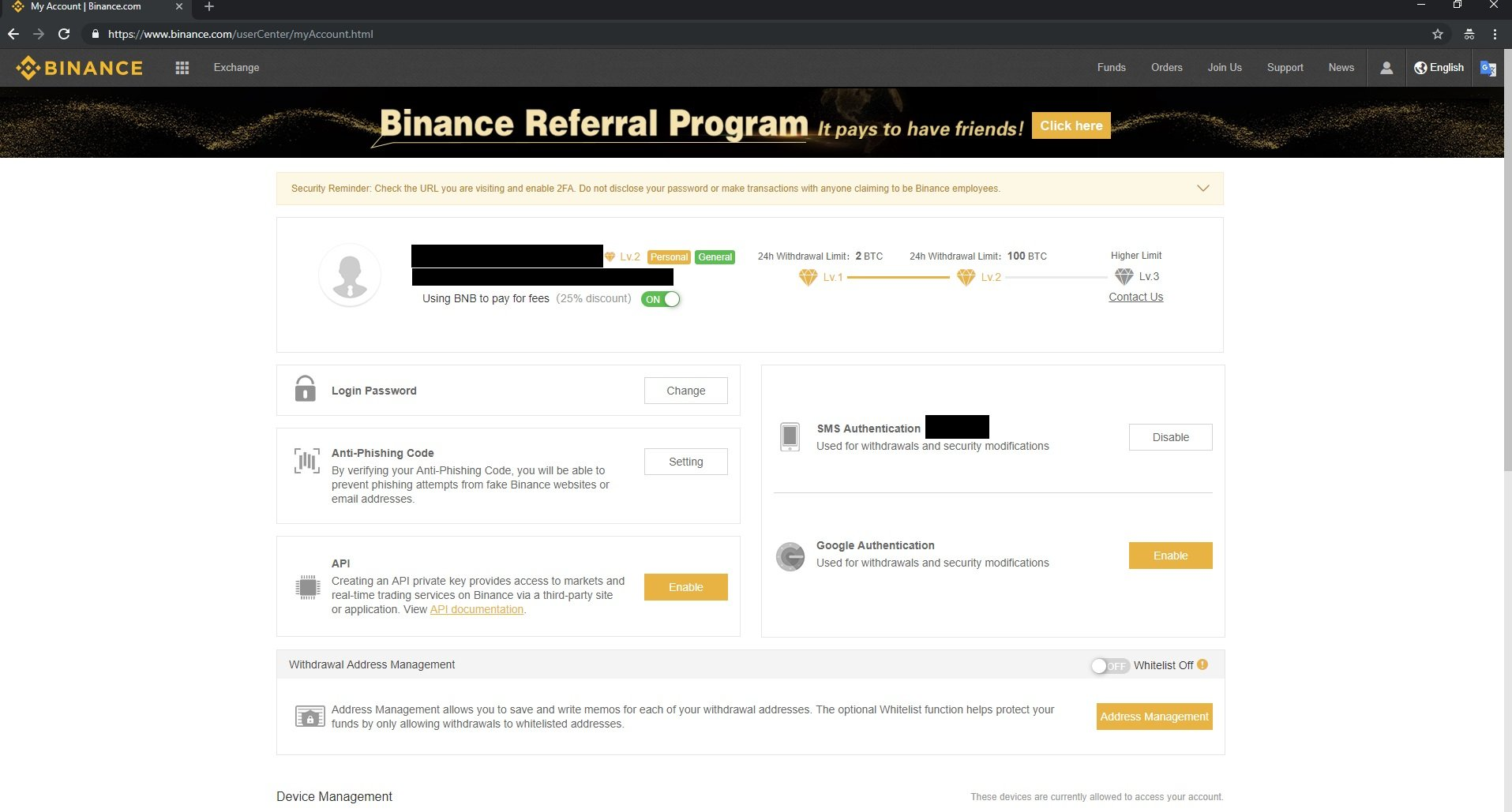 binance user account