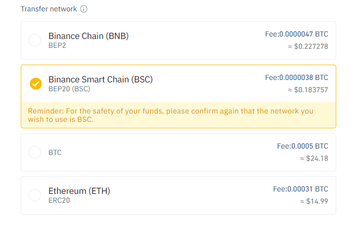 withdraw funds from binance to bsc