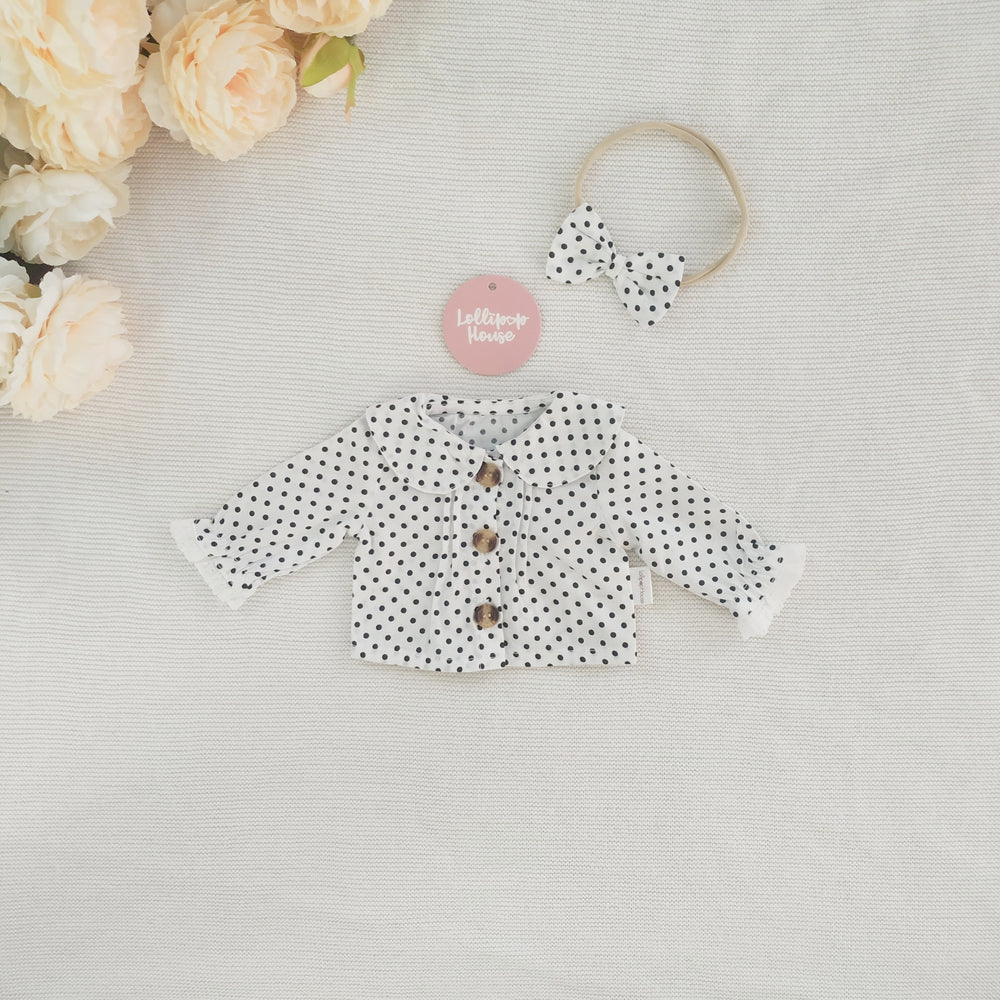 Doll Collared Blouse + Headband - Polka Dot