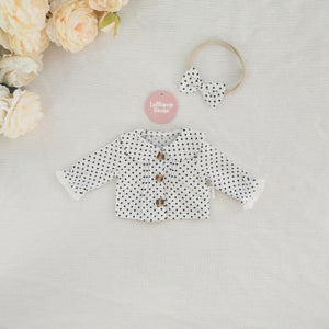 Doll Collared Blouse + Headband - Polka Dot,  - LollipopHouse