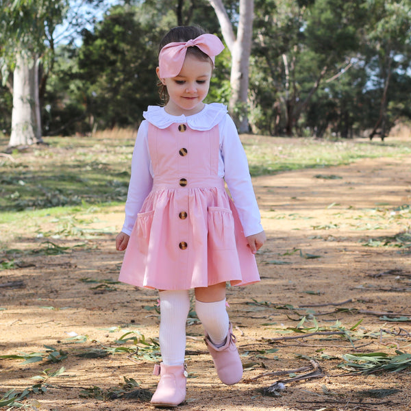 Button Pinny + Top Knot Headwrap - Pink,  - LollipopHouse