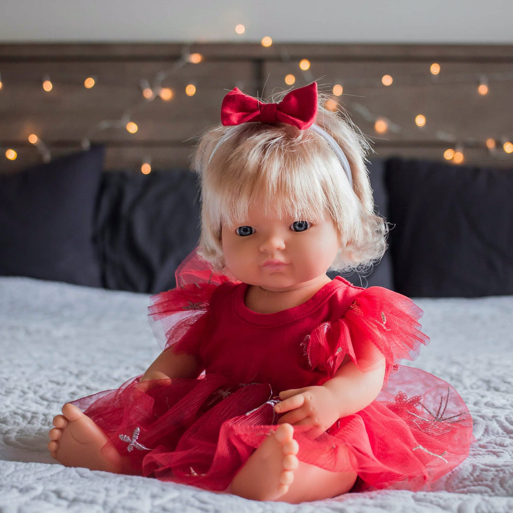 Doll Miracle Dress + Bow - Candy Red