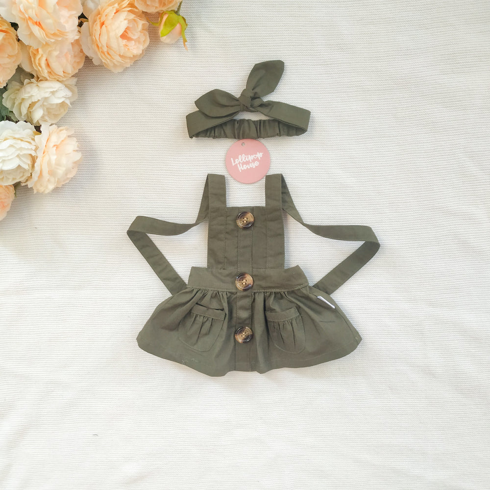 Doll Button Pinny - Olive